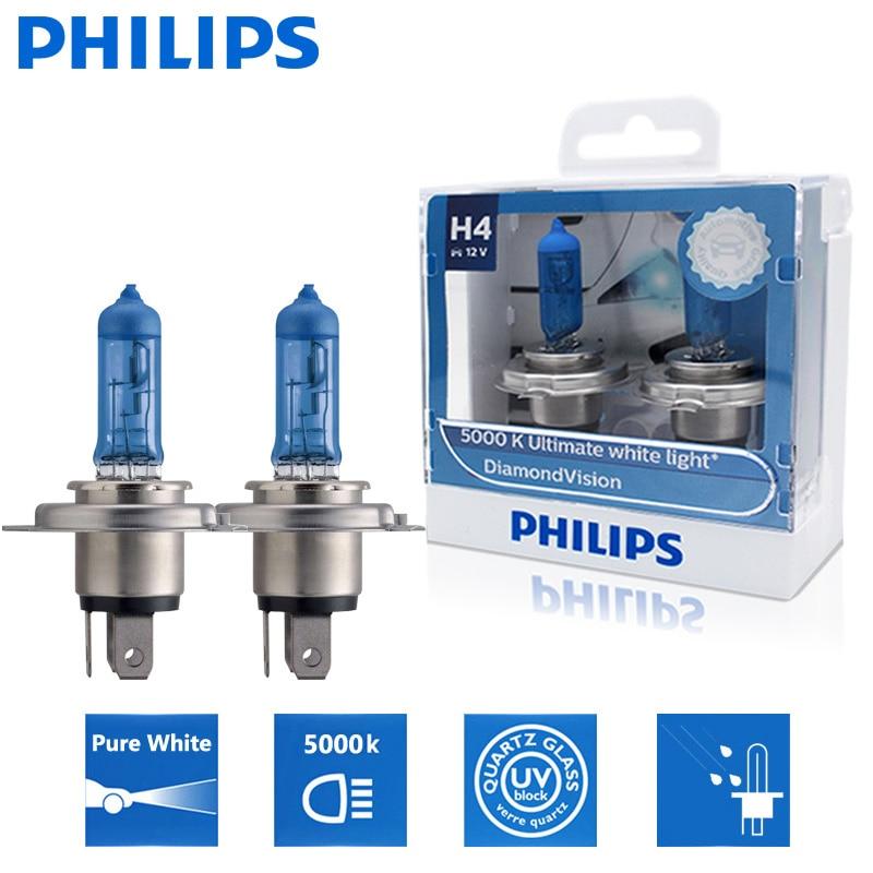 2 шт., автомобильные галогенные лампы Philips H4 9003 12 в 60/55 Вт P43t Diamond Vision 5000K