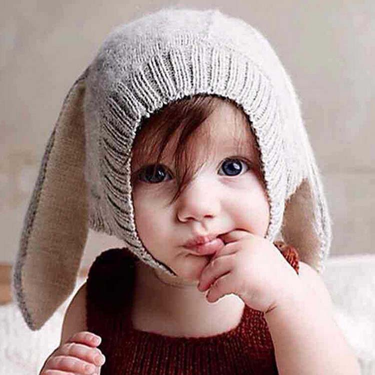 Autumn And Winter Day Baby Hat Cute Rabbit Ears Hat Add Fuzz Thickening Cute Newborn Baby Warm Cap To Protect Ears Children