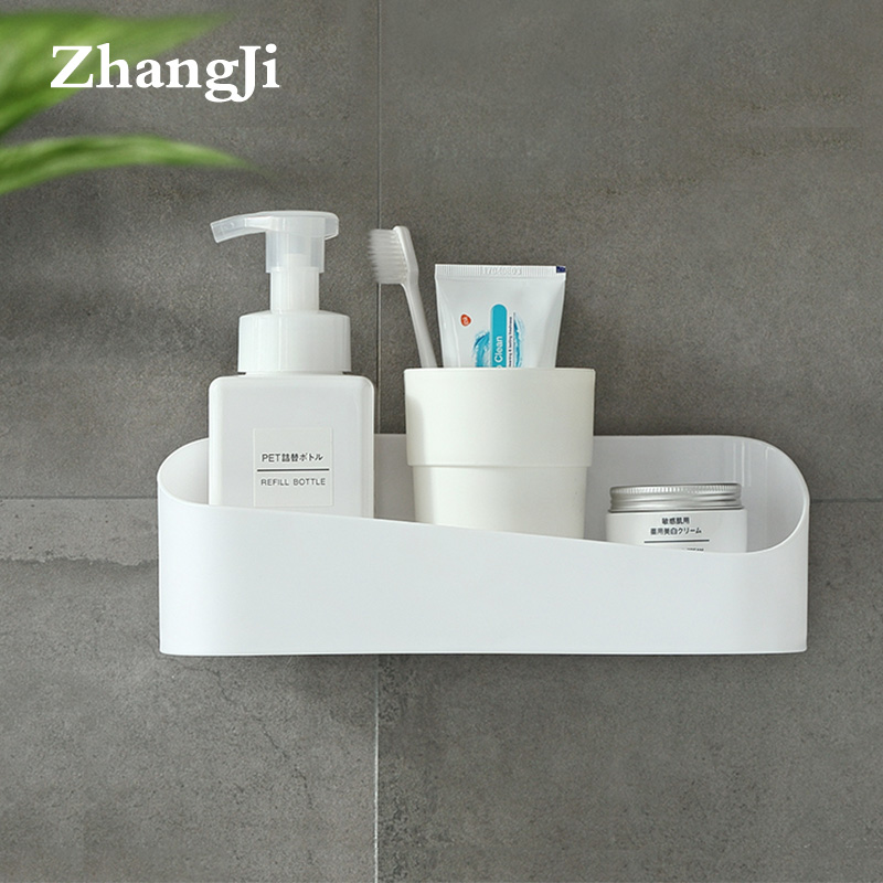 Zhangji Bathroom Shower Shelf Home And Kitchen Organizer ABS Traceless Shelf Rack Self Adhesive Wall Shelves Storage Box