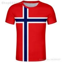 Camiseta de Noruega diy con el nombre y el número hechos a medida, camiseta con la bandera de la Nación, ropa con texto y foto impresa en el país del Reino noruego