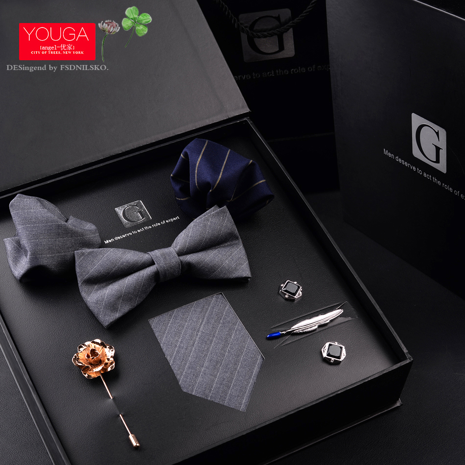 Light Extravagant Tie Man's Formal Bow Tie Gift Box Suit Valentine's Day Present For Husband's Birthday Wedding And Groom's Tie