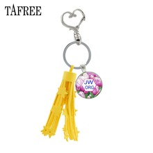 TAFREE JW.ORG leather tassels keyrings for a woman vintage silver metal Plated Key ring JW femme jewelry for Handbag JW45(China)