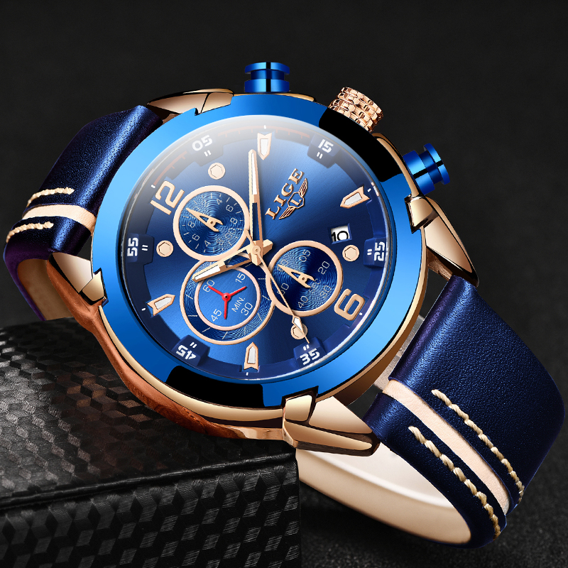 2020 LIGE New Fashion Men Watch Top Brand Luxury Chronograph Quartz Watch Men Sport Military Army WristWatches Relogio Masculino