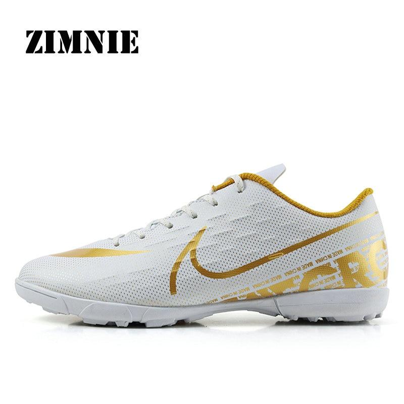 ZIMNIE Men&Women TF Turf Rubber Soles Football Boots Outdoor Sports Training Soccer Shoes Training Futsal Sneakers Size 34~44