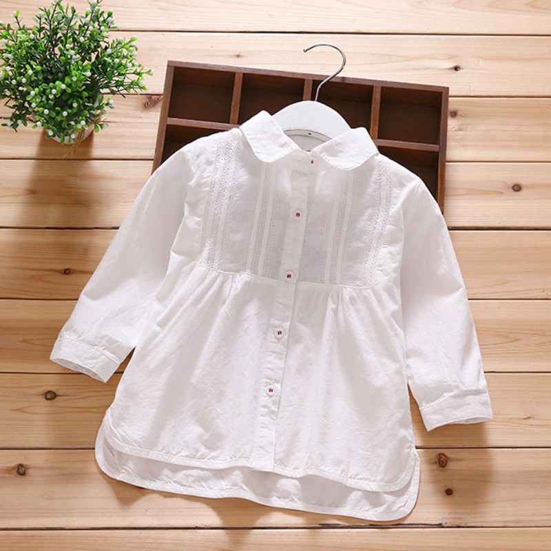 Baby Girls Clothes Cute White   Blouse   For Girl Kid   Shirts   Summer Long Sleeve Tops   Shirts   ClothesTurn-down Collar White   Blouse