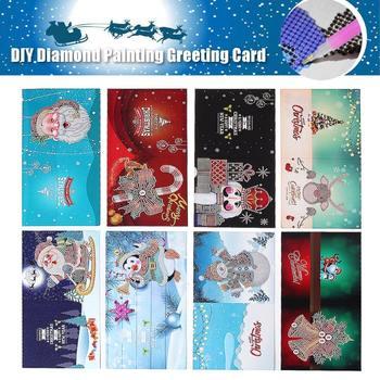 New 8PCS DIY Diamond Painting Greeting Cards Merry Christmas Festival Invitation Cards Santa Claus Cartoon Paper Postcards Set
