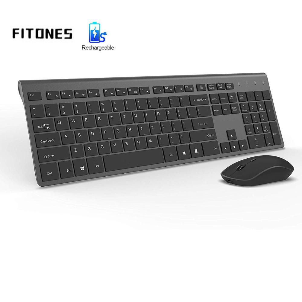 Wireless keyboard and mouse, 2.4G stable connection rechargeable battery, ergonomic, office home, laptop, gray,Adjustable DPI