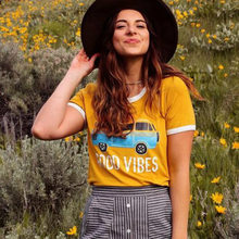 """""Good Vibes Car """"letter Printed Round Neck Women's /Girl's Short-sleeved Yellow Color Cotton Casual Loose T-shirt Top Tee(China)"