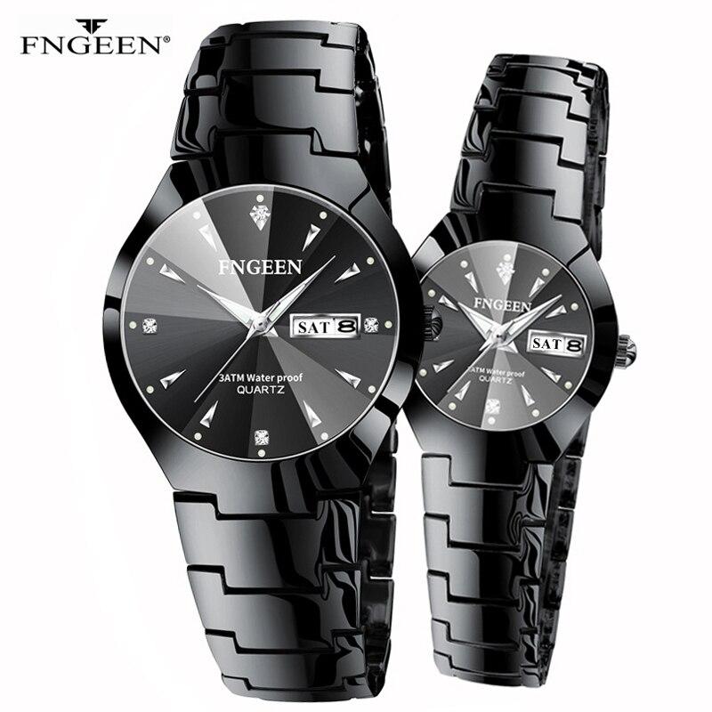 2020 Fashion Black Steel Quartz Wristwatch Man And Woman Couple Watch Luxury Watchband Luminous Dual Calendar Watch For Lovers