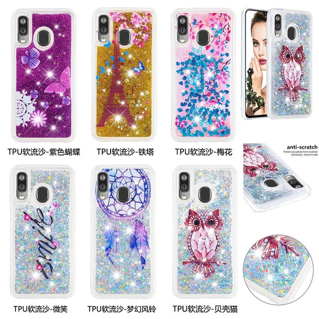 Fashion Bling Phone Cases for Samsung Galaxy A40 A20 A30 A80 A90 A60 A20e A10e M40 A2 Core Liquid Quicksand Soft TPU Shell Coque