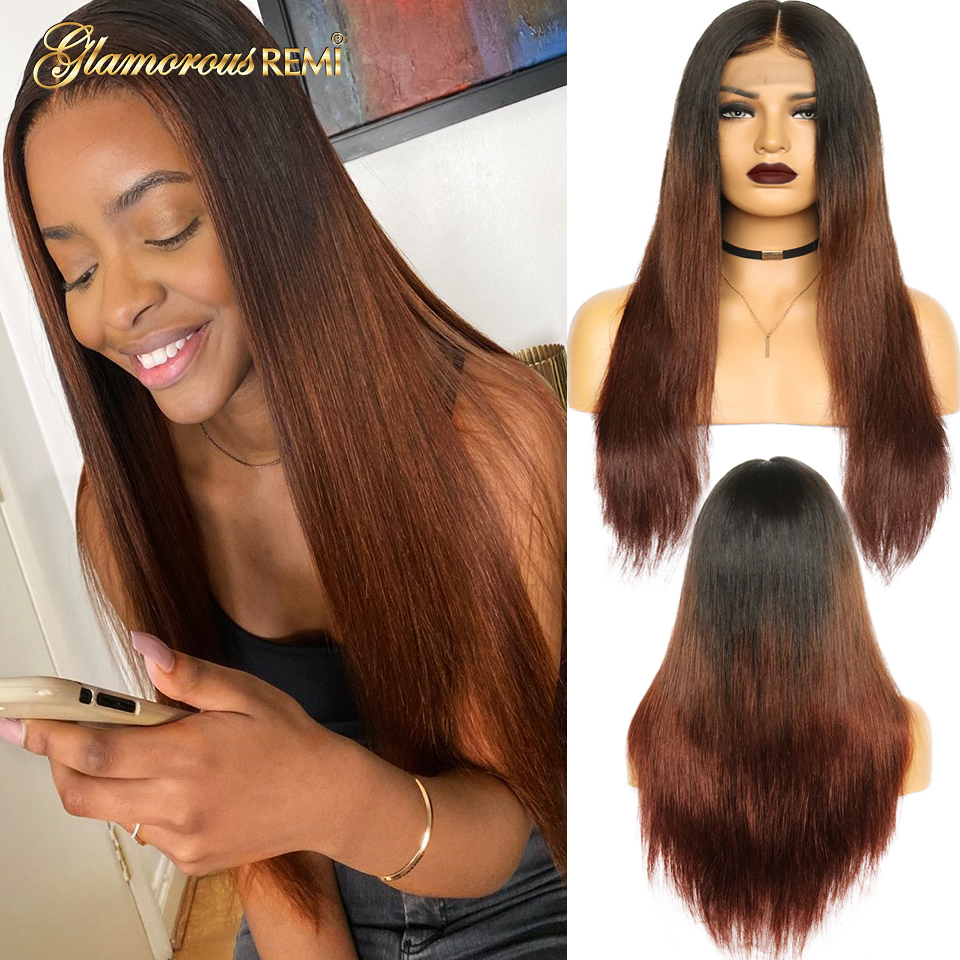 Ombre 1B 30 Straight Lace Front Human Hair Long Wigs13*4 Lace Frontal Wig For Women Pre Plucked Bleached Knots With Baby Hair