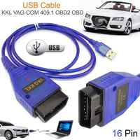 NEW Car USB Vag-com Interface de Cabo KKL VAG-COM 409.1 OBD2 II OBD Scanner de Diagnóstico Auto Aux Cabo para V W Vag com Interface