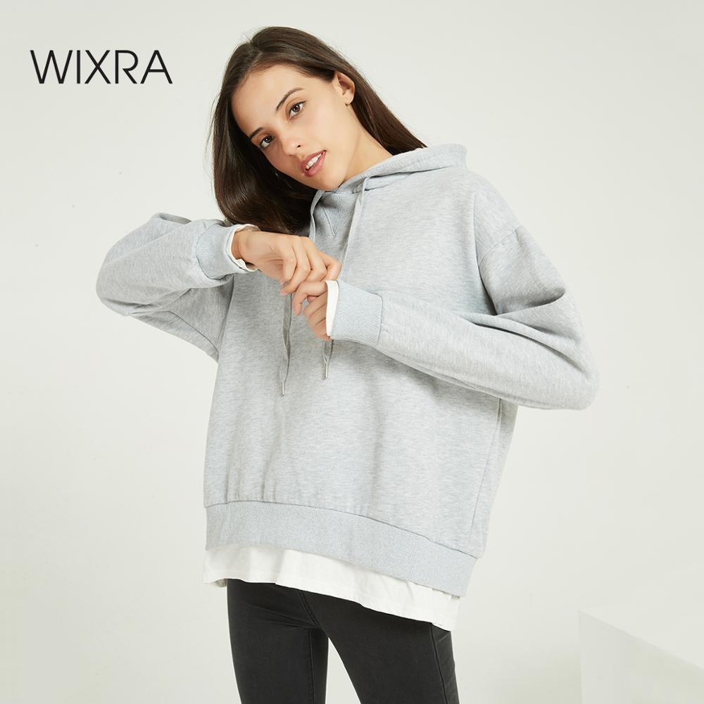 Wixra Women Casual Patchwork Sweatshirts Warm Velvet Long Sleeve Oversize Hoodies Tops 2020 Autumn Winter Pullover Tops