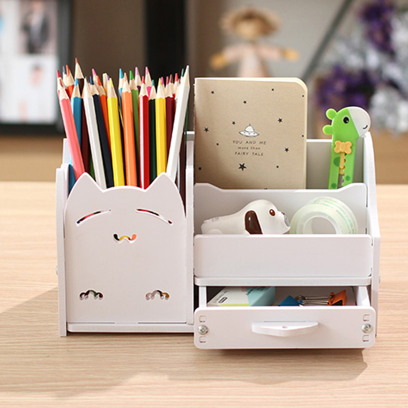 Multifunction School Desk Pen Pencils Drawer Case Storage Box Table Simple Pencil Shelf Holder Office Stationery Supplies