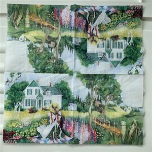 Image 4 - מגזרת נייר חתונה בציר מפיות נייר אלגנטי רקמות נוף כפרי ילדה עץ בית יום הולדת Guardanapo אריזות מפלגה