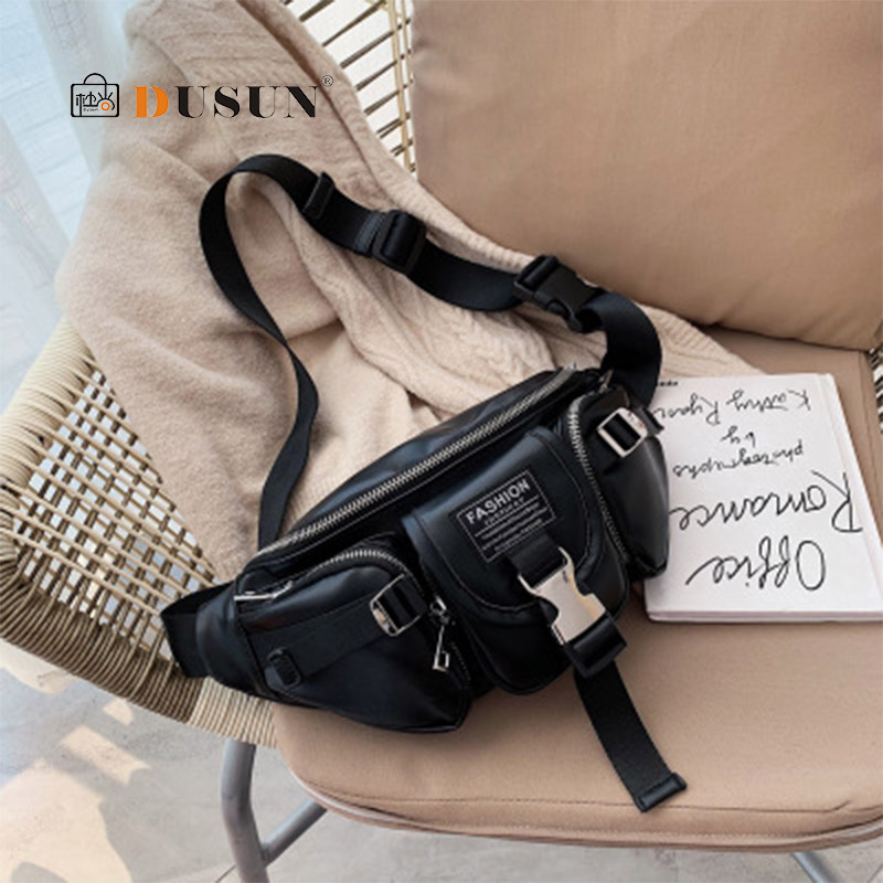 Waist Pack Multi-pocket Outdoor Waterproof Brand Waist Pack Bags  High Quality PU Leather Chest Bag Chic Wide Strap Bum Bags New
