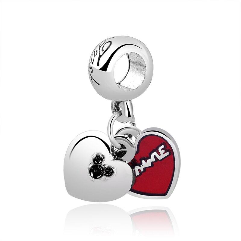 Новинка, сплав, шарик Микки и Минни, сказочный Дамбо, любовь, шарм, подходит для Пандоры, браслет, ожерелье, сделай сам, Женские Ювелирные изделия - Цвет: Double Hearts