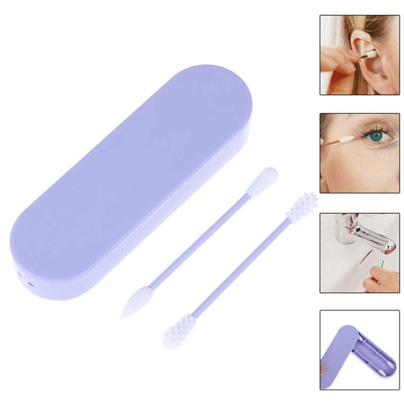 2 pcs 재사용 가능한 화장품 목화 면봉 더블 헤드 끝난 깨끗한 면봉 귀 청소 세트는 저장 실리콘 면화 상자를 포함한다
