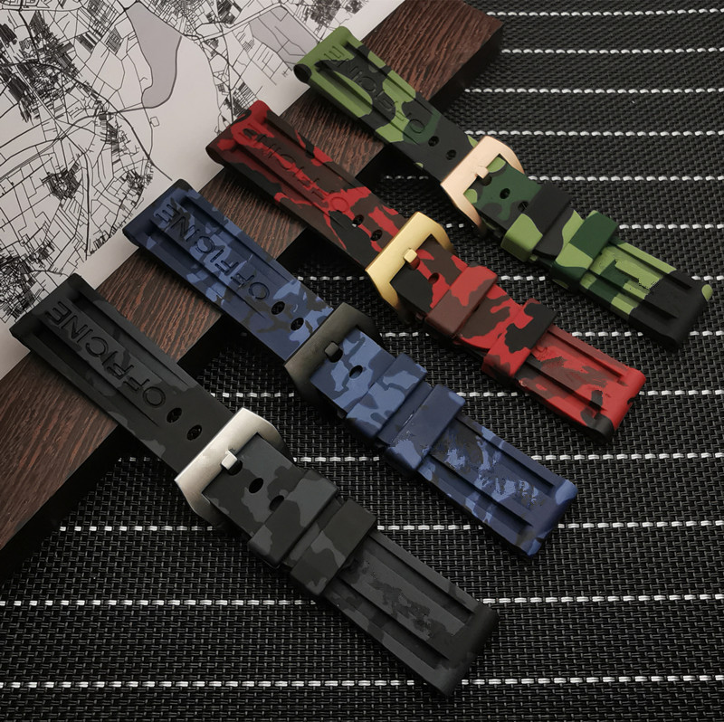 22mm 24mm Sports Camo Gray Green Red Blue Silicone Rubber Watchband  For Panerai Strap For PAM111/441 Watch Band Buckle Tools