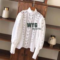 Ladies Sweet Blouses 2020 Sping New Hollow Out Butterfly Lace Patchwork Long Sleeve Elegant Pink White Blouses Tops