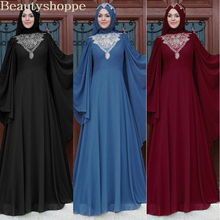 Abaya Dress Ramadan Maxi Embroidery Long-Robe Muslim Evening Middle-East Lace Eid Gowns-Jubah
