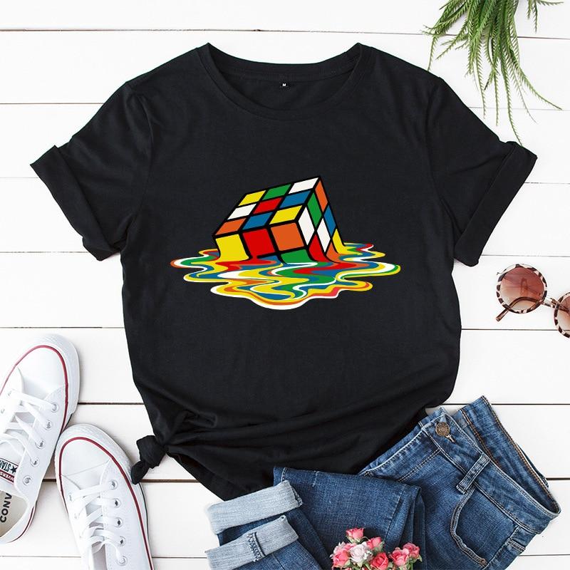 Plus Size S-5XL New Rubik's Cube Print Women T-Shirt 100%Cotton Women Shirts O Neck Short Sleeve Tees Summer T Shirt Pink TShirt