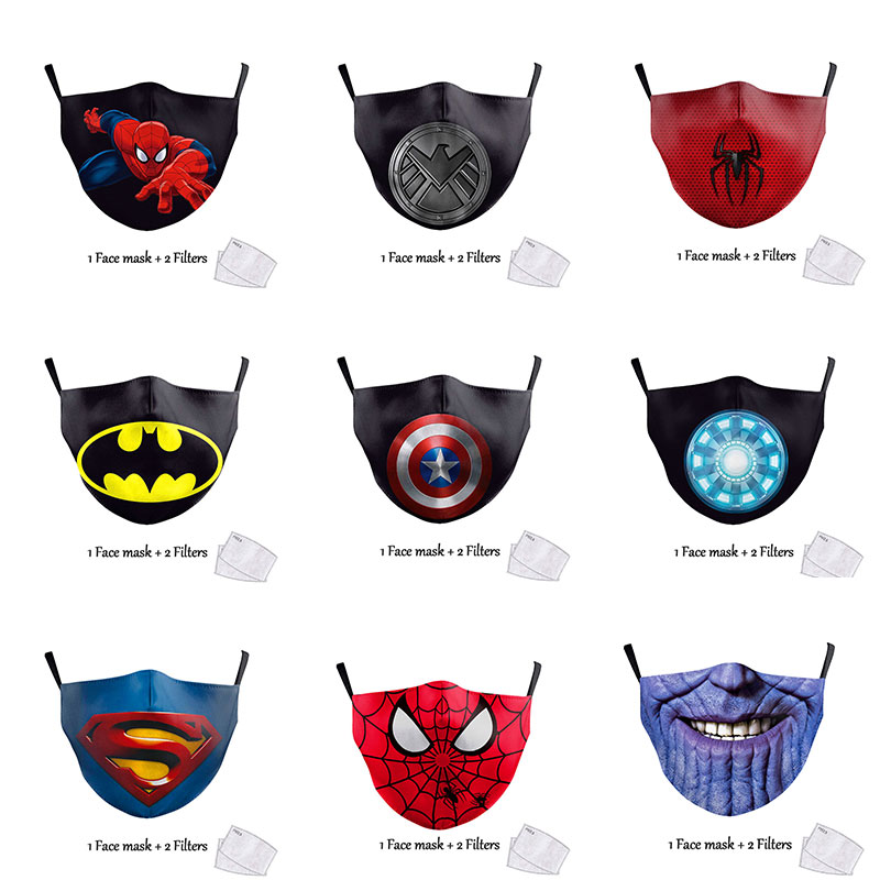 Cute Kids Face Mask Cartoon Superhero Print Spiderman Captain America Superman Children Protective Fabric Washable Reusable Mask