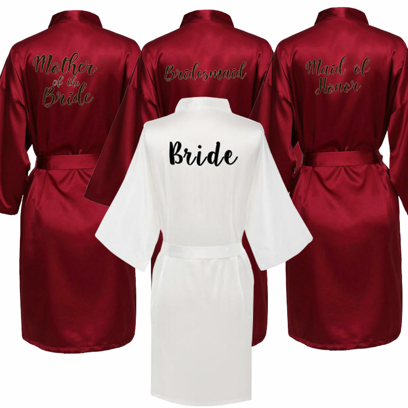 Burgundy New Bride Bridesmaid Robe Mother Sister Of The Bride Wedding Gift Bathrobe Kimono Satin Robes 001