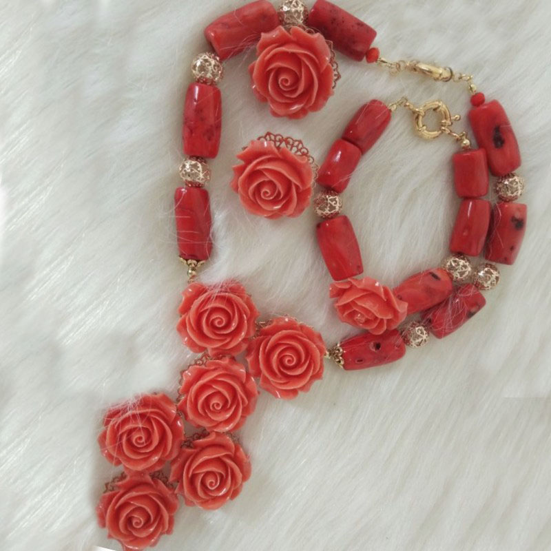 4UJewelry African Women Jewelry Set 100% Coral Beads Flowers Necklace Set For Nigerian Wedding Bride Choker Pendant Earrings Bracelet 3 Pieces Party Set