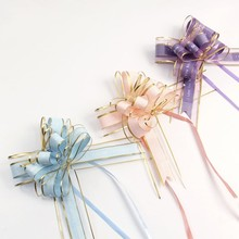 10pcs / Lot Snow Yarn Plastic Pull Flower Ribbon Wedding Car Door Handle Gift Party Butterfly Knot Decoration Hand Drawn Flowers 10pcs diy artificial flowers wedding car decoration flower ribbon pull bows gift wrap floristry wedding home decoration