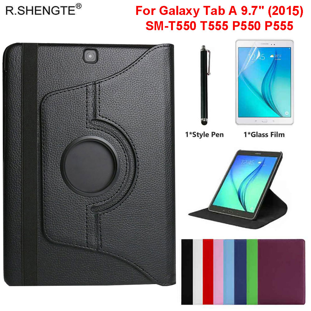 360 Rotating Case For Samsung Galaxy Tab A 9.7 2015 Tablet SM-T550/T555/P550 9.7'' Case Filp Leather Stand Cover With Pen+Film