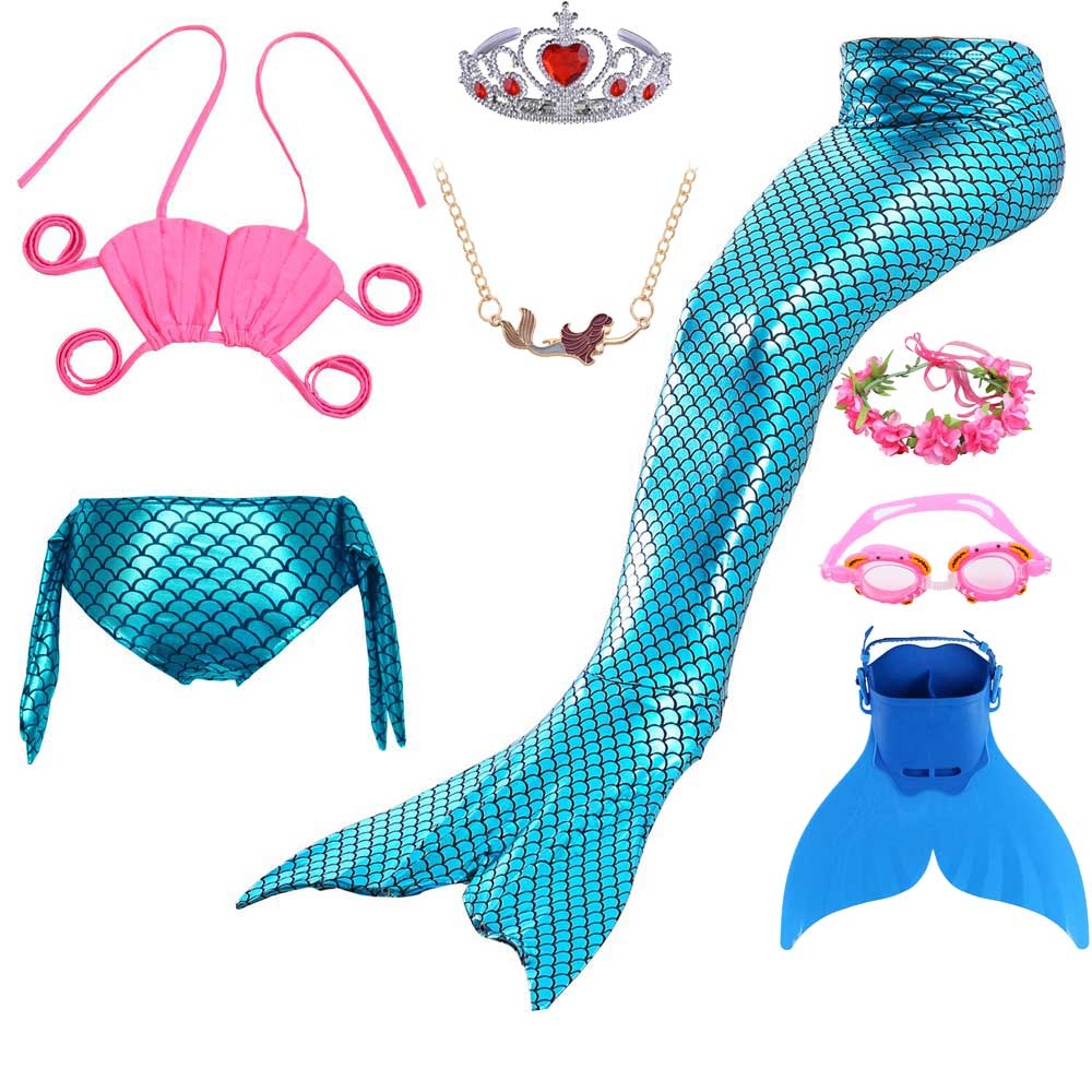 Fish Scale Mermaid Tail Dress And Lace Up Bikini Swimsuit For Girls Kids Photograph Cosplay Swimming Mermaid Costume