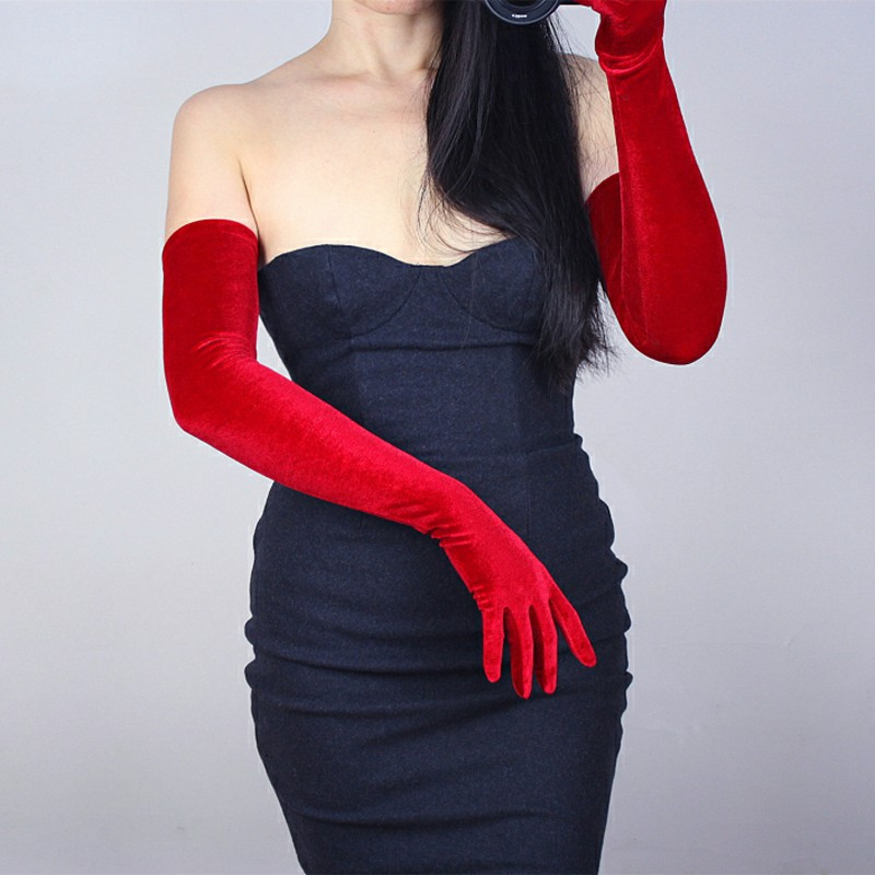 Opera Wedding Long Red Velvet Gloves Women Evening Costume Special Fashion Warm Velours Gloves For Party Social Events ST322