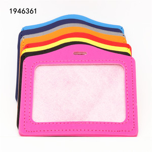 High quality 617 PU Leather material card sleeve ID Badge Bank Credit Card Badge Holder Accessories School student office