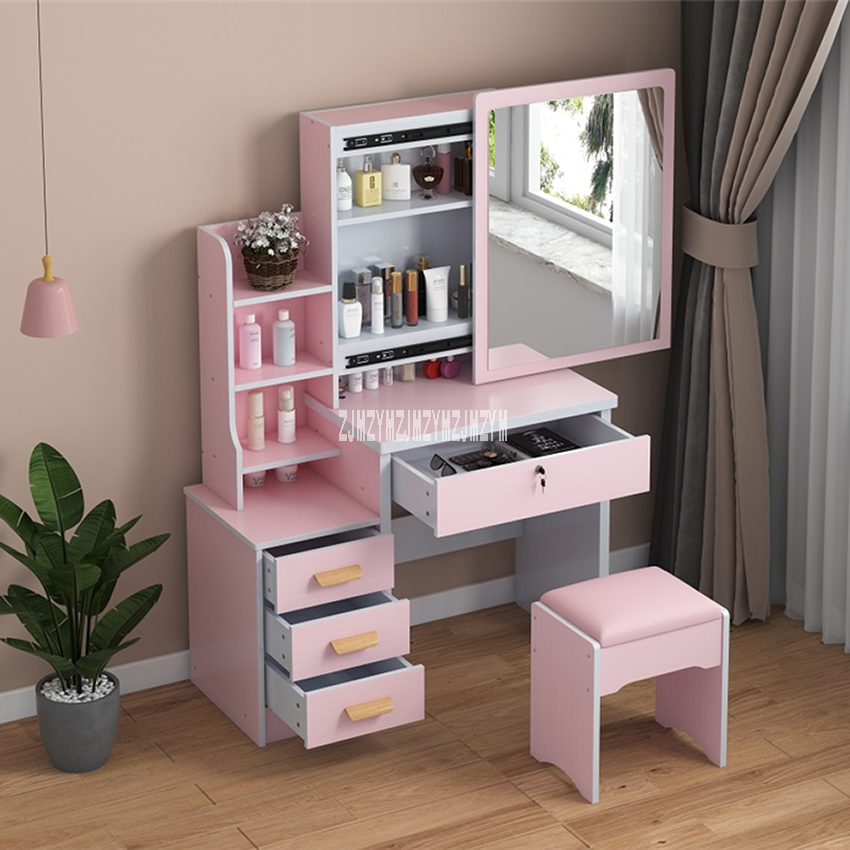 Us 50 73 11 Off C918 C501 Simple Modern Dresser Household Bedroom Dressing Table Density Board Makeup T Able With Mirror Drawer Lock Stool On