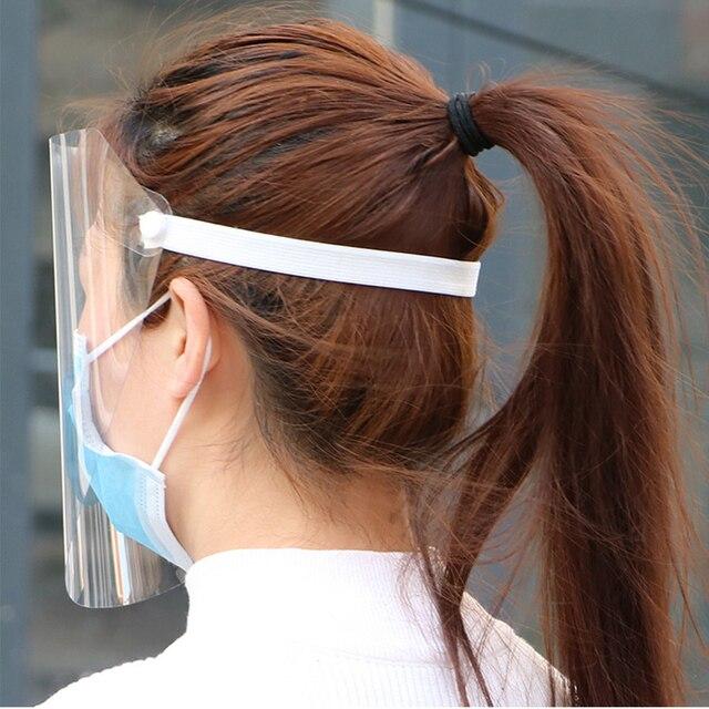 Protective Full Face Shield Covering Mask Anti Droplet Saliva Transparent Pantalla Facial Protection Dust-proof Anti-fog Visor 2