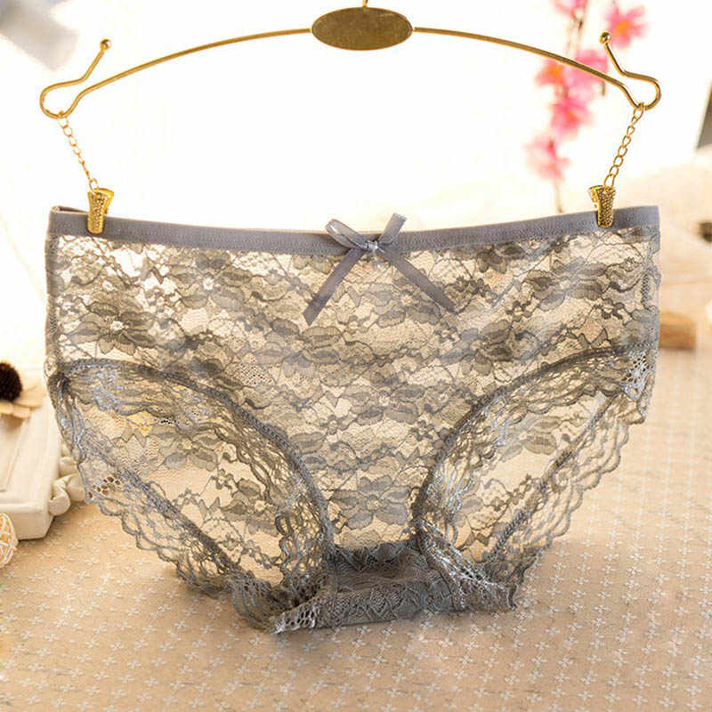 B 2019 Women Lace Briefs Ultra-Thin Transparent Flower Embroidered Patterned Plus Size Underwear Seamless Panties 6 Colors