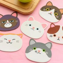 Home Decoration Coaster Vrey Cute Cat Shape Silicone Cup Pad Pattern Silicone Insulation Placemat Coaster Cup Bowl Mat Lovely dining table placemat tea coaster cute zodiac pattern melamine insulation placemat coaster cup bowl coffee pad tableware pad hot