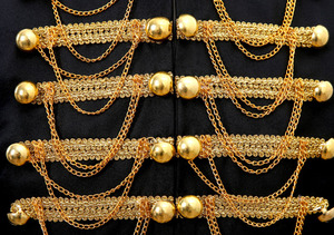Image 5 - Steampunk Prince Costume Military Tassle Chains Halloween Jacket Coat Singer Pop Stars Blazer Suits Royal Outfit For Men Black