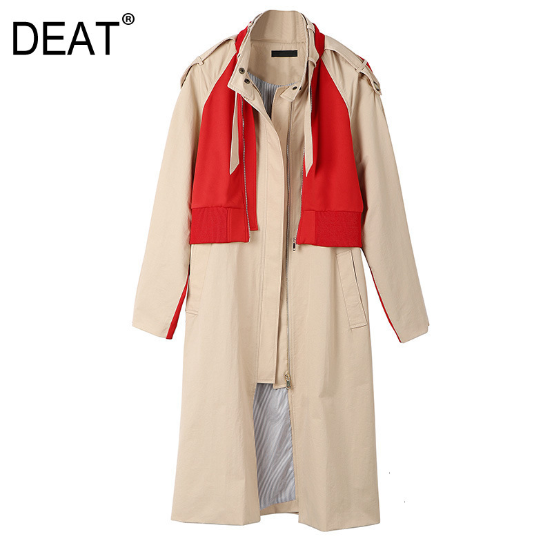 DEAT Leisure Turn Down Collar Wide Waisted Patchwork Contrast Color Women Loose Long Trench Coat 2020 Autumn Winter New TD628