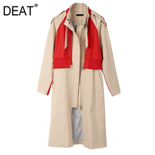 DEAT Leisure Turn Down Collar Wide Waisted Patchwork Contrast Color Women Loose Long Trench