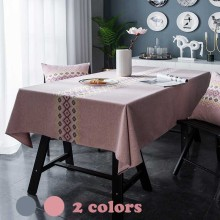 Rectangular Embroidery Flower Tablecloth Cotton/Linen Table Cloth Pastoral Floral Solid Grey/Pink Dining/Coffee Table Cover