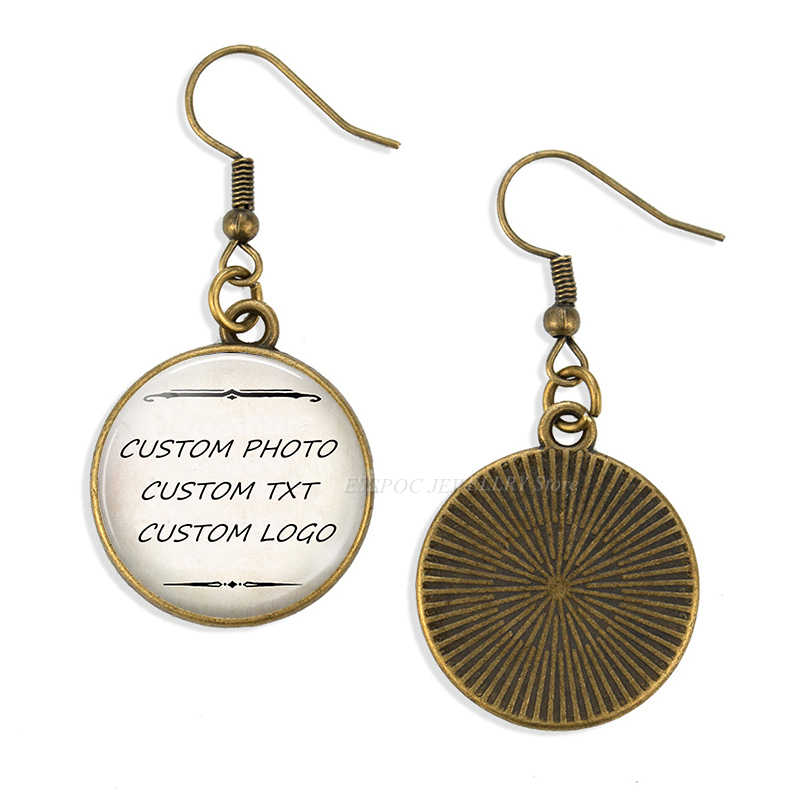 אופנה אישית DIY להתנדנד עגיל מותאם אישית לוגו תמונה מילה Txt עגילי זכוכית קרושון תכשיטי אוזן וו נשים מתנה