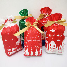 Cute 50 pcs Christmas Gift Bags Santa Claus Tree Packing Happy New Year Candy Durable Storage Bag