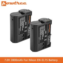 EN-EL15 EN-EL15a Battery for Nikon D7000 D7100 D7200 D850 D750 Nikon D7500 Battery D810 D500 D800 D610 D600 EN-EL15b Battery L5 cheap powtree Camera Standard Battery Rechargeable Li-ion battery 2800mAh 7 0V EN-EL15 EN-EL15A EN-EL15B Battery Pack D7500 D810 D610 D800 D850 D600 D800e D810a