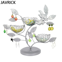 House Jewelry Tree Stand with Bird Nest Metal Necklace Organizer Ring Sweater Chain Watch Display Holder