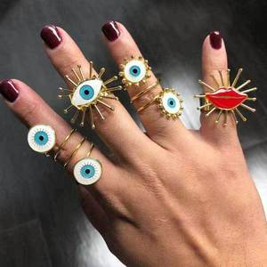 2020 New Fashion Exaggerated Multiple Layers Irregular Knuckle Ring Sets Vintage Enamel Evil Eye Lip Gold Rings For Women(China)