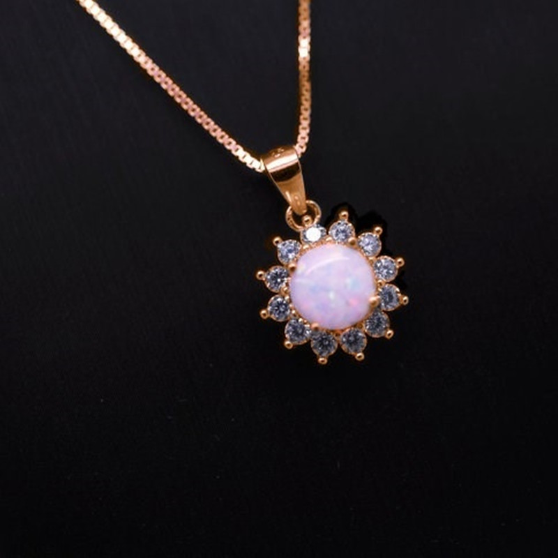 FDLK Luxury Round White Fire Opal Pendant Necklace For Women Accessories Statement Necklace Wedding Party Jewelry Gift