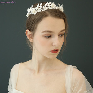 Image 2 - Flor de porcelana de moda, corona de boda, Tiara para el cabello nupcial, tocado de hojas de Color plateado, accesorios para baile de graduación, joyería para el cabello
