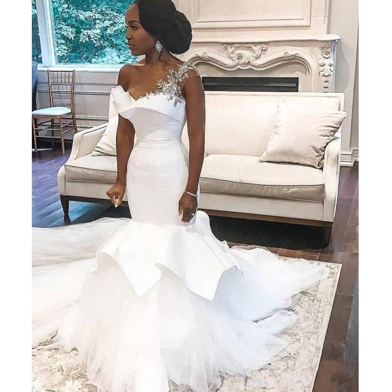 2020 Arabic Mermaid Wedding Dresses One Shoulder Crystal Beaded Robes De Soirée Bridal Gowns Long Train